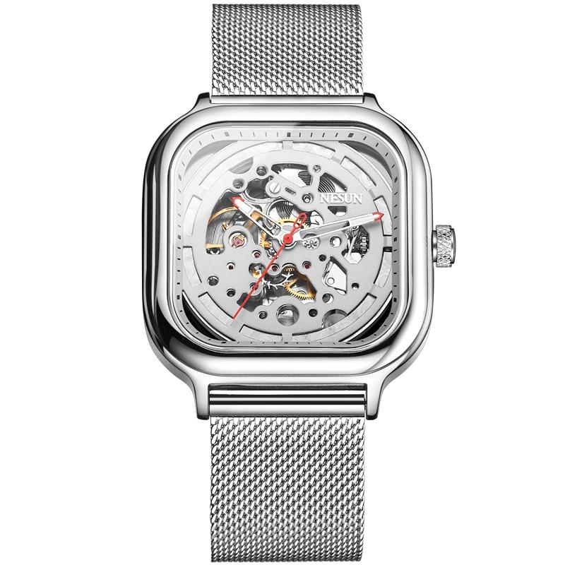 NESUN Fashion Brand Men Watch Hollow Automatic Mechanical WristWatch Luminous Stainless Sport Male Clock Relogio Masculino
