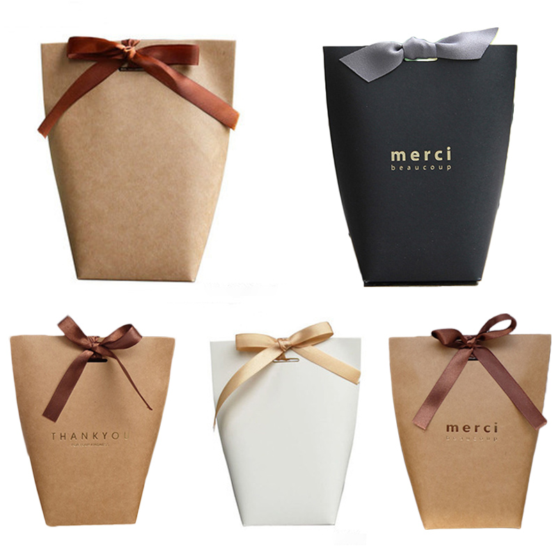 <font><b>large</b></font> <font><b>gift</b></font> bag French Thank You Upscale Black White Bronzing <font><b>Gift</b></font> <font><b>Box</b></font> Package Candy Bag Wrapping Supplies <font><b>Packaging</b></font> Boxes 5 Pcs image