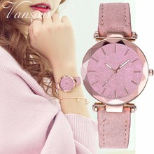 Dropshipping Women Starry Sky Dial Watch Fashion Luxury Ladies Leather Quartz Wrist Watches Vansvar Brand Relogio Feminino
