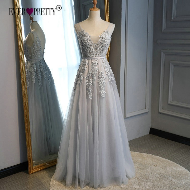 Beaded   Prom     Dress   2019 Ever Pretty Elegant A Line V Neck Backless Appliques Lace Long Wedding Party Gown Vestidos De Festa Longo