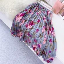 Hot Sale Women Flower Print Chiffon Skirts Pleated Female Vintage High Quality Midi Plated