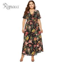 Romacci Sexy Women Chiffon Dress Deep V Neck Solid Slim Fit Belted Plus Size Dress XXXL 4XL 5XL 6XL Maxi Long Summer Dress 2019 boat neck belted maxi dress