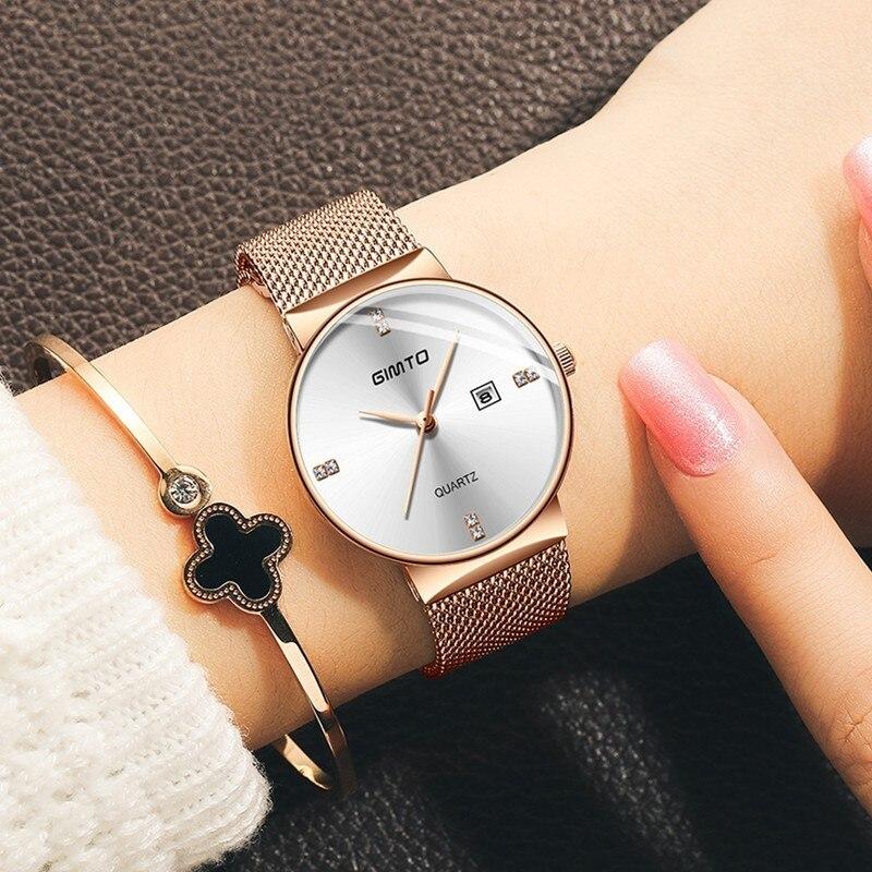 GIMTO Ladies Watches Top Brand Luxury Women Watches 2019 Quartz Rose Gold Watch Woman Steel Mesh Band Women's Waterproof Watch