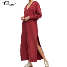 5eaba407e0 Celmia Plus Size Women Maxi Dress 2018 Autumn Long Sleeve Sexy High Split Long  Hoodie Dress
