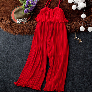 Image 5 - Good Quality Solid Chiffon Jumpsuits Women Pleated Ruffles Wide Leg Ankle Length Strapless Pants Fashion Womens Jumpsuit Pant