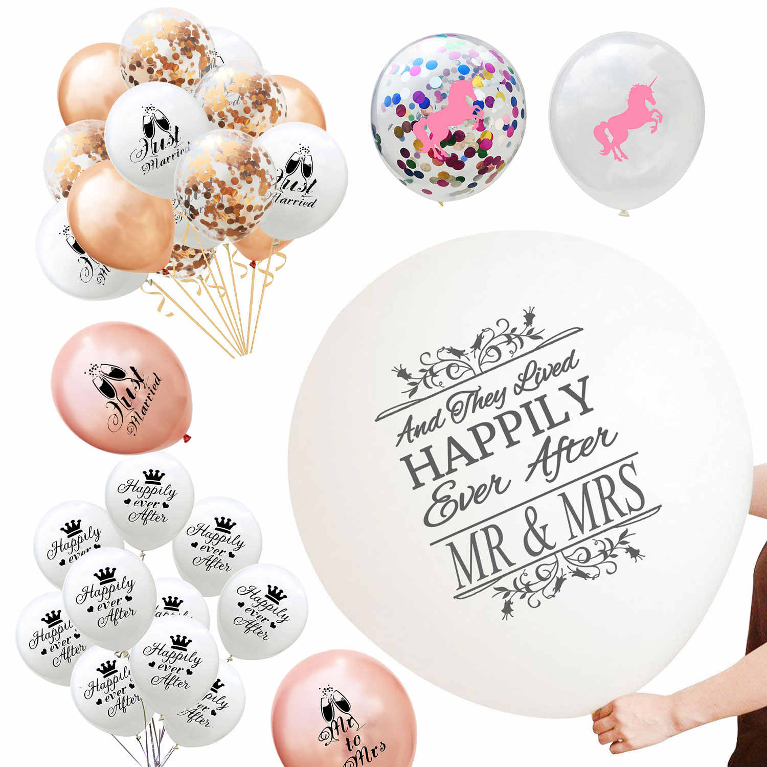 ZLJQ Just Married Wedding Balloon Jumbo Mr & Mrs Balloon Reception Entrance Decor Photo Props - Anniversary Signs Bridal Decor