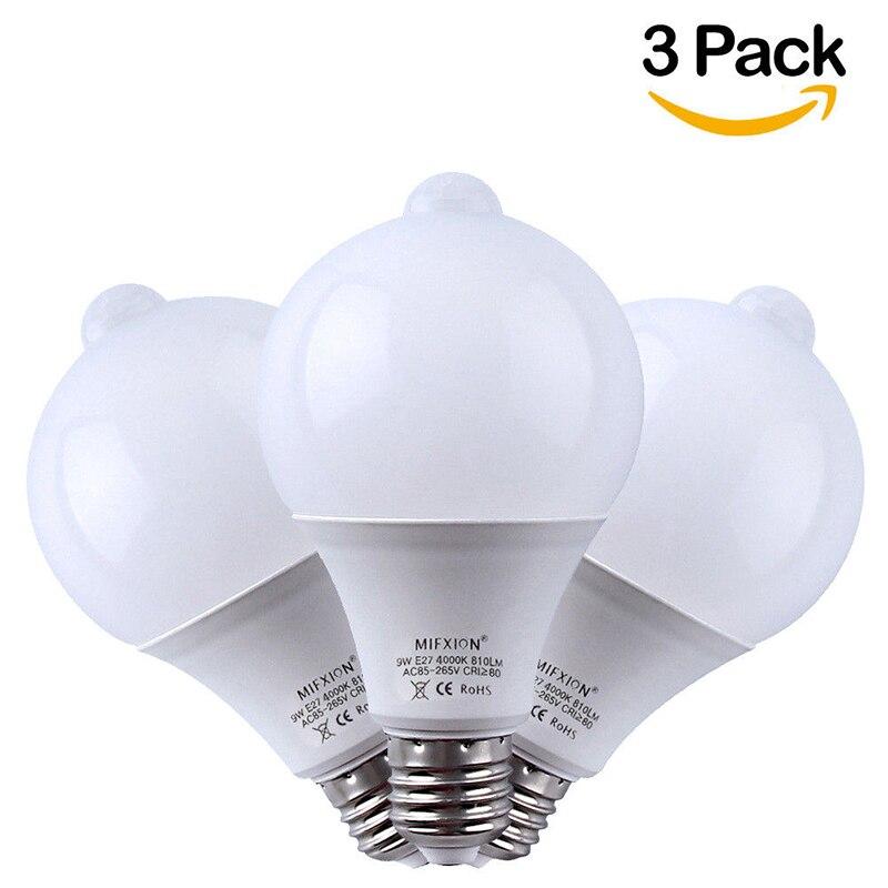 3 шт. 9 Вт PIR датчик движения светодиодная лампа с датчиком + светло Управление движения Сенсор свет E27 Светодиодная лампа для Авто Смарт свето