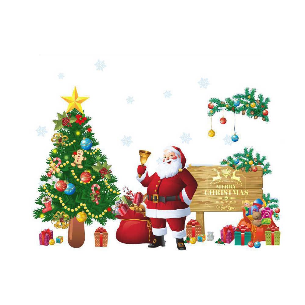 كبيرة عيد الميلاد الديكور جدار ملصقات نافذة DIY سانتا كلوز عيد الميلاد شجرة خلفيات الشارات غرفة المعيشة ديكور المنزل Assceesories
