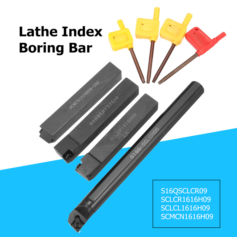 4Pcs 16mm Boring Bar + 4pcs Wrench Turning Tool For Machine Lathe Turning Tool S16Q SCLCR09 SCLCR1616H09 SCLCL1616H09