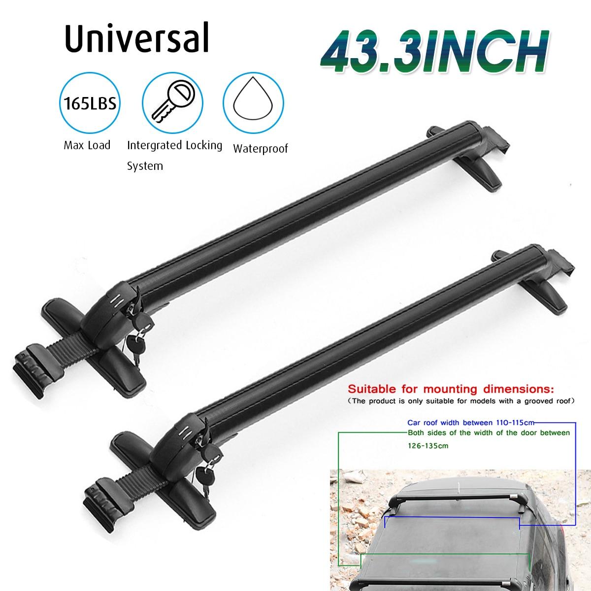 2pcs Universal Car Roof Cross Bar Anti Theft Lockable Bars