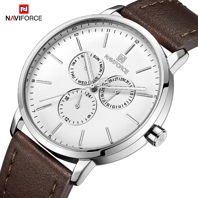 Top Brand NAVIFORCE Mens Fashion Ultra-Thin Analog Quartz Wrist Watch Leather Strap Sports Watches Men Waterproof Clock MaleTop Brand NAVIFORCE Mens Fashion Ultra-Thin Analog Quartz Wrist Watch Leather Strap Sports Watches Men Waterproof Clock Male