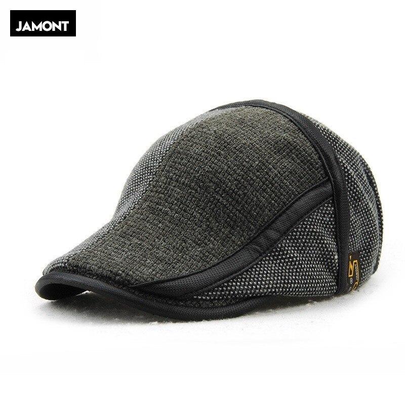 JAMONT Beret-Cap Newsboy-Hat Duckbill-Visor Flat-Cabbie-Hats Knitted-Wool Warm Winter