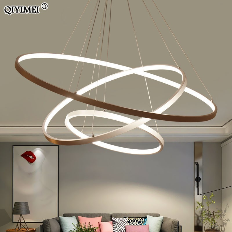 cheapest Modern led chandelier 40 60 80cm circle chandelier lighting  lustre ring lights living room decoration bedroom light fixtures