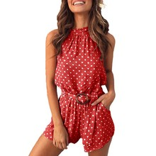 Fashion Women Summer Sashes Polka Dot Print Romper Casual Cold Shoulder Beach Playsuit Sexy Halter Backless Lace-Up Jumpsuit