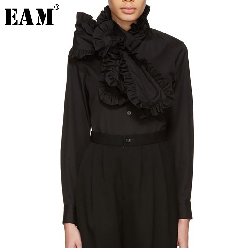 EAM 2019 New Spring Stand Collar Long Sleeve Ruffles Split Joint Loose Black Temperament Shirt