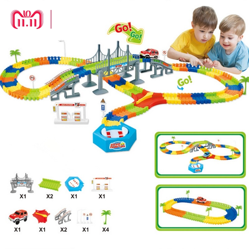 DROPSHIPPING Mega Set Miraculous Race Track Bend Flex Car Toy Track Set DIY Tracks with Electronic Rail Racing Car Birthday Gift 280pcs miraculous race track bend flex car toy racing track set diy track electric rail car model set gift for kids