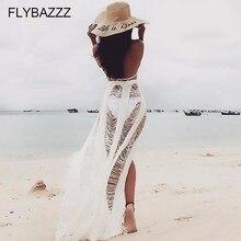 2019 Sexy Beach Cover Up Dress Swim Women White Knitted Tunic Hollow Tassels Bikini Bandage Half-body Skirt