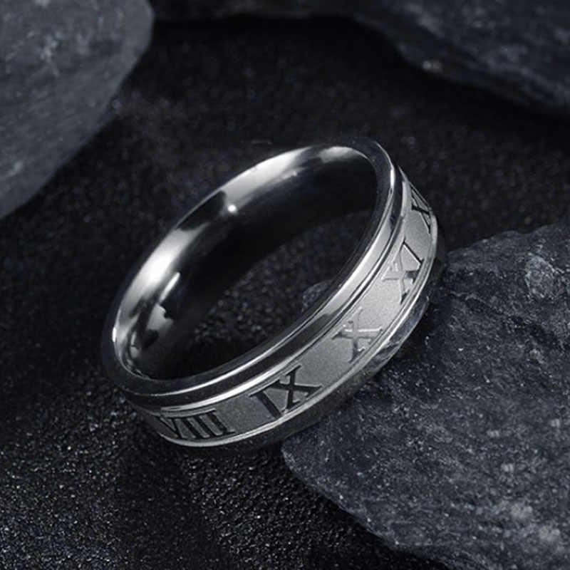 Горячая 6 мм римские цифры золото-цвет черный Мужчины Женщины Кольцо 316L парные кольца из нержавеющей стали Прямая поставка