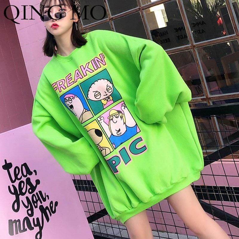 QING MO vert dessin animé motif sweat robe femmes hiver en peluche sweat Oversize Harajuku sweat Streetwear ZLD116A