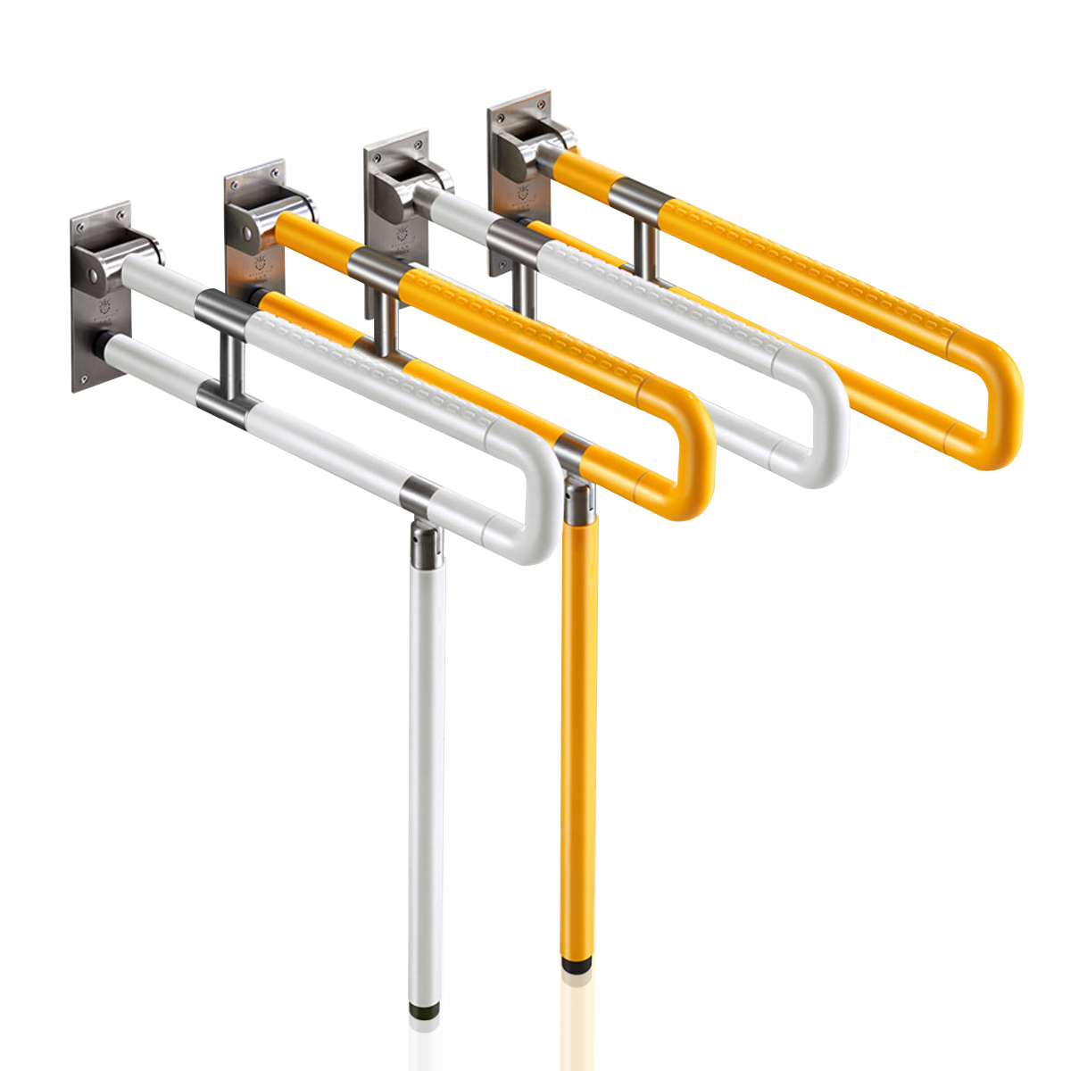 60/75cm Barrier-Free Stainless Steel Toilet Bathroom Grab Bar Elderly Disability Safety Handrail Folding Handrail Yellow Safety