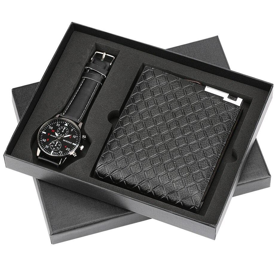 Mens Watch Chronograph Wristwatch Quartz Wallet Gift Set