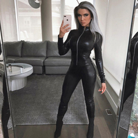 Shiny Pu Leather Jumpsuit Zip Up Long Sleeve Streetwear Women Faux Leather Romper One Piece Wet Look Leggings Sexy Club Catsuit
