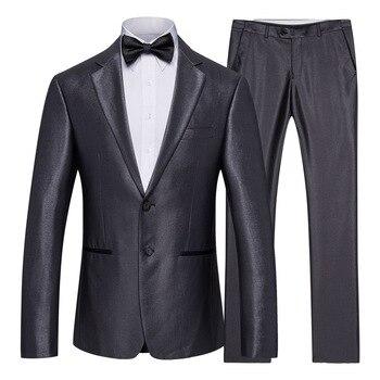 Suit Men Men's Solid Color Fashion Slim Suit Best Man Two-piece Men's Business Casual Wear Suit Jacket Trousers Pants XF005