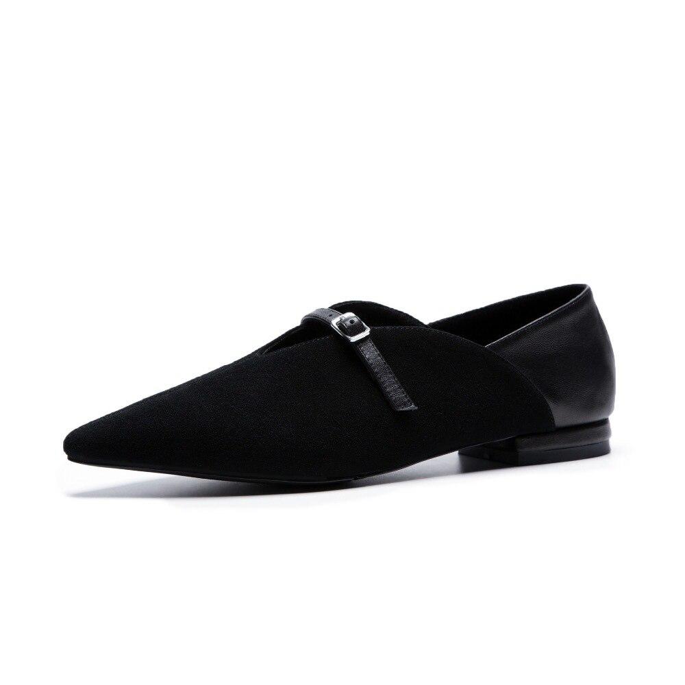 Новинка 2019, женские туфли на плоской подошве из натуральной коровьей замши, пикантная женская повседневная обувь на плоской подошве, обувь