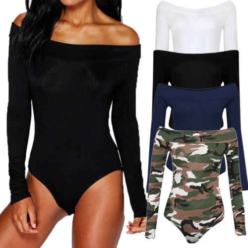 Women Ladies Off Shoulder Long Sleeve Bodysuit Leotard Top Plain Stretch One-Piece Suit