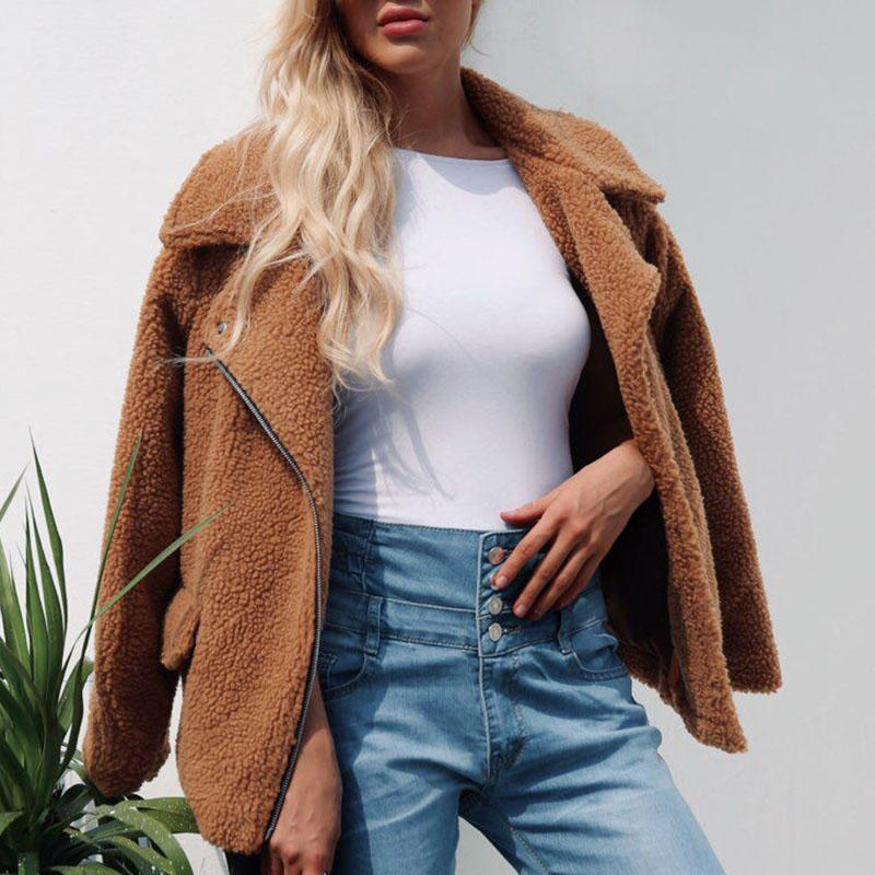 Women Faux Fur Coat Winter Plush Warm Lapel Button Jacket Ladies Overcoat Autumn Jacket Female Outerwear Plus Size 3XL