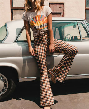 Vintage Plaid Bell-Bottom Trousers
