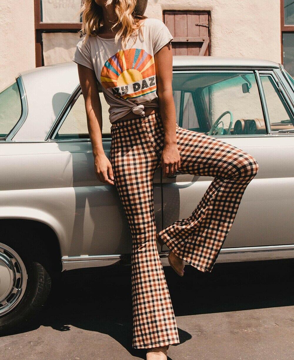 Frauen Lange Hosen Vintage Plaid Print Stretch Flare Breite Bein Hosen Bell-Bottom Hose Sommer Kleidung 2019