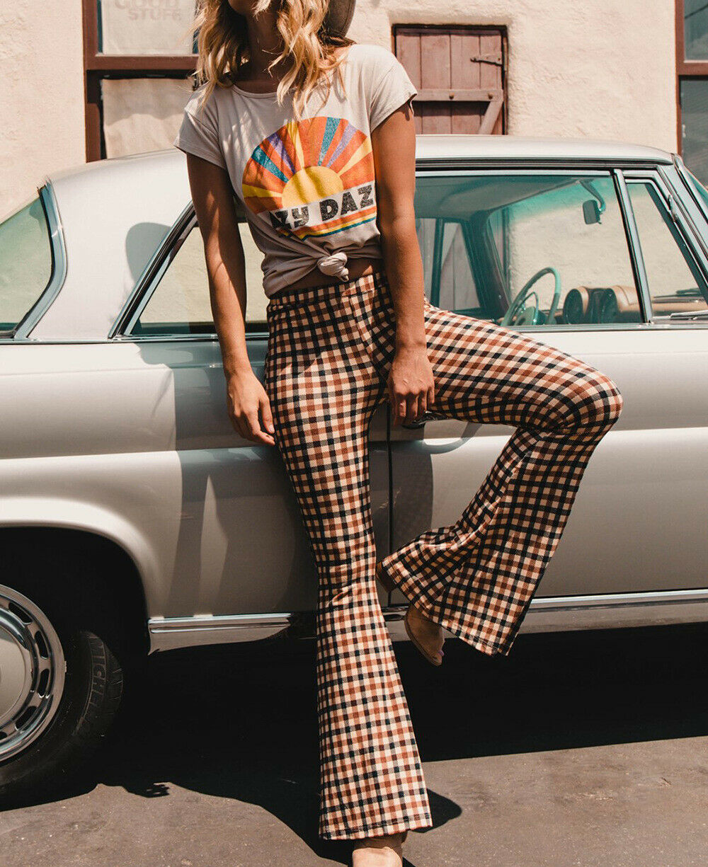 Women Long Pants Vintage Plaid Print Stretch Flare Wide Leg Pants Bell-Bottom Trousers Summer Clothes 2019