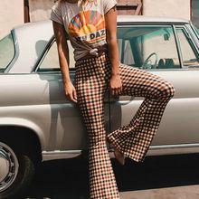 Women Long Pants Vintage Plaid Print Stretch Flare Wide