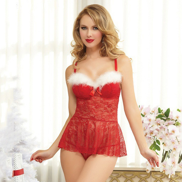 cb9396413e1f1 Sexy Women Christmas Lace Babydoll Furry Faux Fur G-String Teddy Chemise  Sleepwear Lingerie Exotic Costumes Underwear Red
