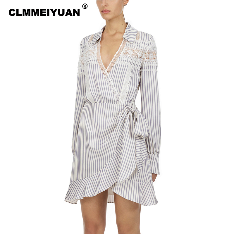Fashion Women Striped Wrap Shirt Dresses Brand New 2019 Self Portrait Dress Women Sexy V Neck Lace Splices Party Vestido Femme-in Dresses from Women's Clothing    1