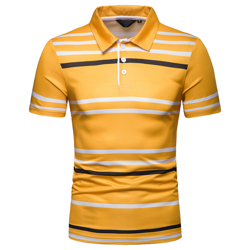 2019 New Summer Men's Short Sleeve   Polo   Shirt Male Contrast Color Stripe Slim Fit Lapel Casual Mens   Polo   Shirt