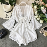 2019 Bohemian Summer Vacation Women Rompers Elegant White Black Striped V Neck Playsuit Sexy Embroidery Patchwork Loose Jumpsuit