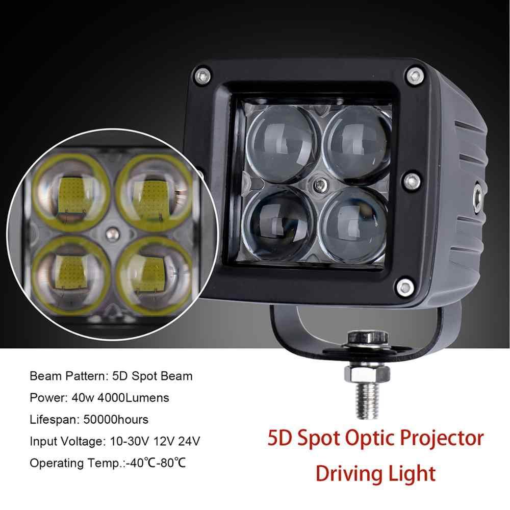 3 אינץ 40W ספוט כיכר Led עבודת הנהיגה אור 12v Offroad מנורת ערפל מחוץ לכביש משאית טנדר SUV פגוש קדמי גג אוטומטי רכב