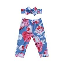 Милые цветочные брюки с цветочной повязка на голову для ребенка для маленькой девочки