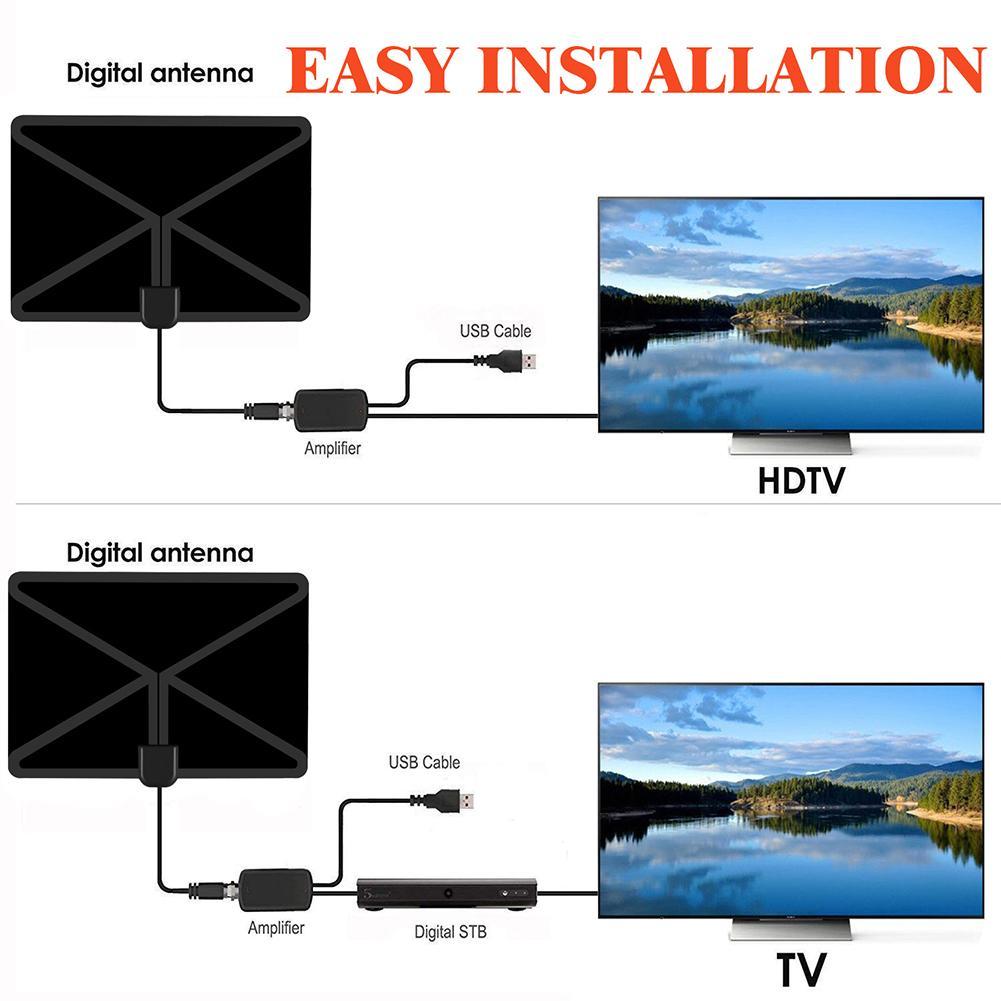 Image 3 - Цифровое ТВ высокой четкости антенна дальность 80 миль Поддержка диапазона для 4 K 1080 P HD ТВ антенный усилитель антенна адаптер усилителя сигнала-in TV-антенна from Бытовая электроника