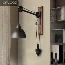 Artpad American Industrial Vinatge Retro Pully Wall Light Bedroom Living Room Wall Lamp Wrought Iron Sconces LED Corridor Lamp цена