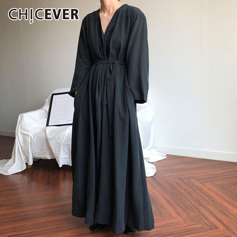 CHICEVER Casual Women's Dresses V Neck Long Sleeve Lace Up Black Maxi Dress Female Korean Oversized 2019 Autumn Fashion New