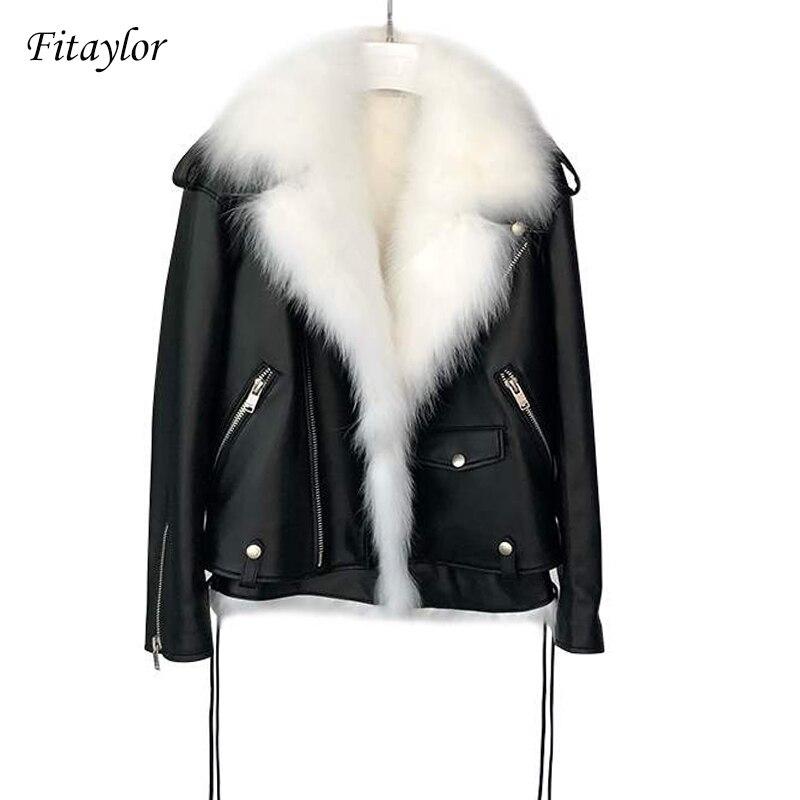 Fitaylor Winter Faux Leather Jackets Women White Faux Fur Vest Black Pu Leather Motorcycle Coat Female