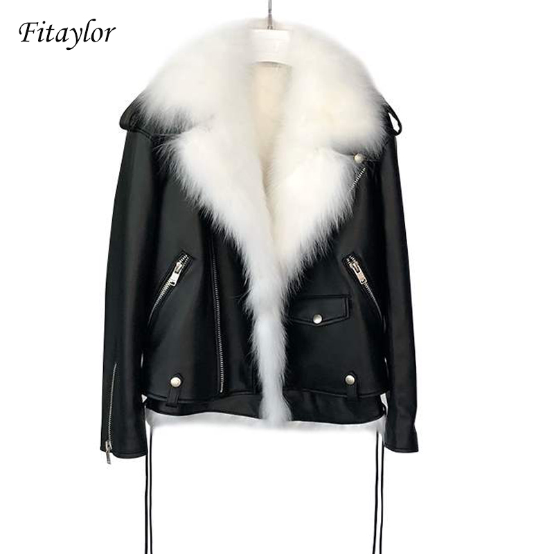 Fitaylor Winter Faux   Leather   Jackets Women White Faux Fur Vest+ Black Pu   Leather   Motorcycle Coat Female Snow Short Outerwear
