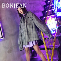 BONJEAN Plaid Jacket for Women 2018 Irregular Outerwear Single Breasted Wool Jacket Vintage Winter Coat Embroidery Jacket BJ564