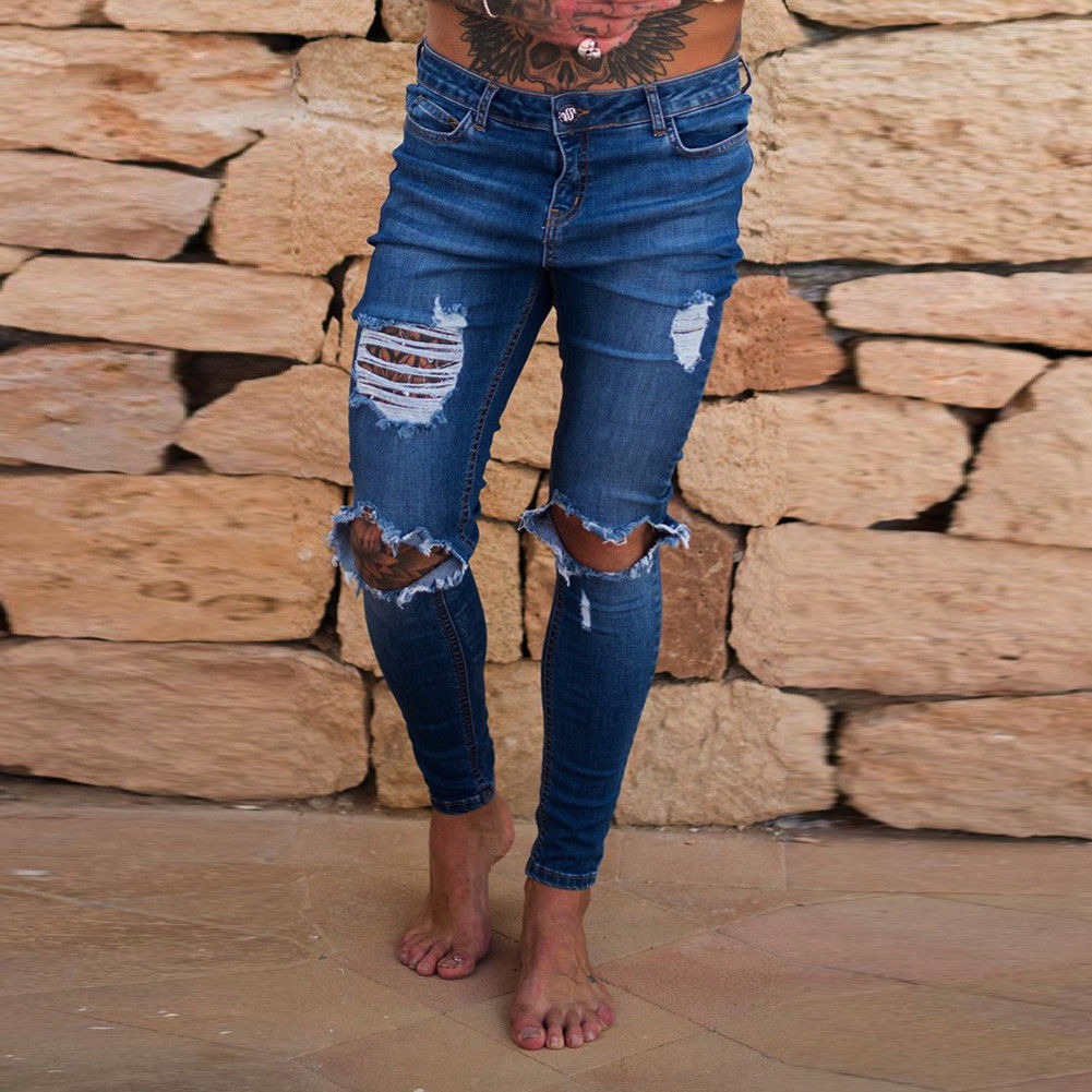 New Hole Jean Men Fashion Skinny Stretch Denim Pencil Pants Distressed Ripped Freyed Biker Slim Fit Jeans Trouser Size 28-36