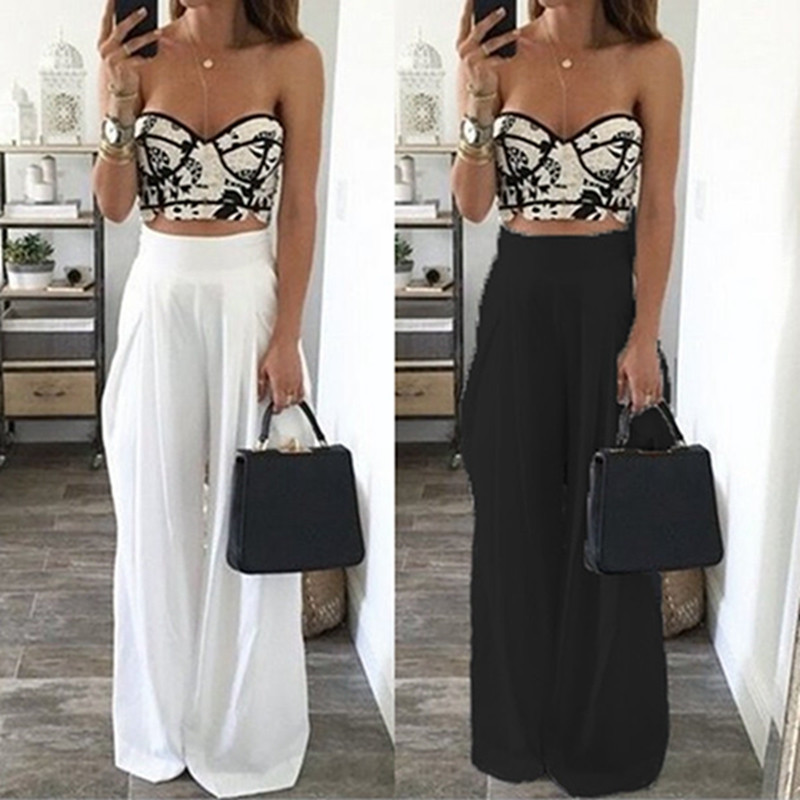 Celmia Plus Size Women   Wide     Leg     Pants   2019 Summer Beach High Waist Chiffon   Pants   Loose Casual Palazzo   Pants   Femme Long Trousers