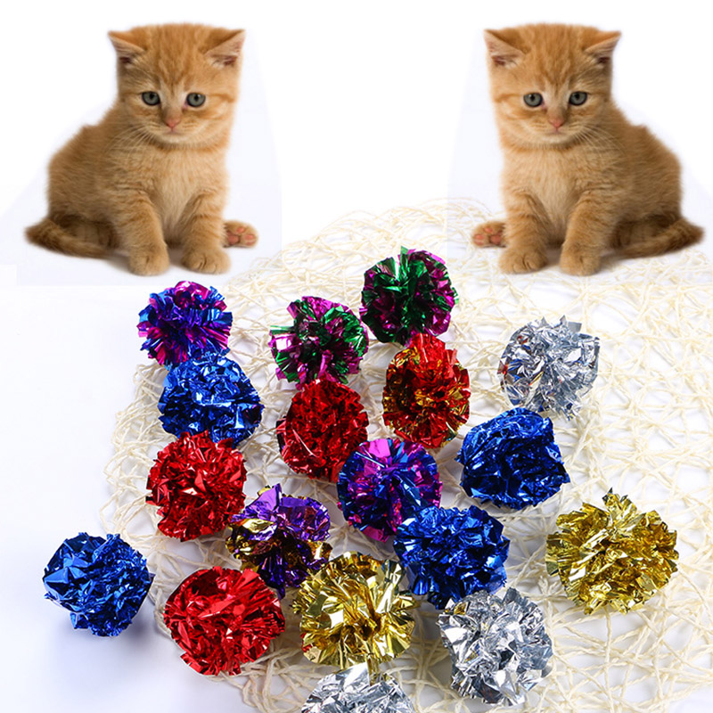 Sale High Quality Crinkle Ball Sound Toy Interactive 1PC for Cat Ring Paper Multicolor Cat Playing Pet Products Cat Toys