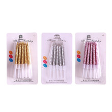 10cps/set Gold Silver Threaded Candle Safe Flames for Anniversary Wedding Birthday Party Cake Topper Decoration Candles TR003(China)